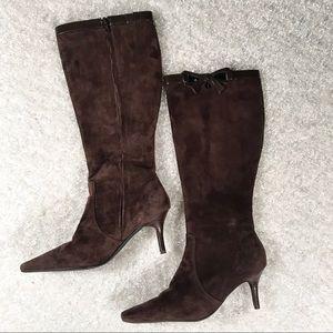 Bijou Tall Heel Brown Suede Sz 7 boots